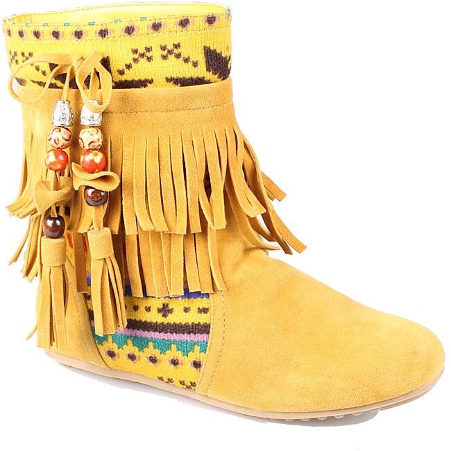 Refresh by Beston Women's 'Mini-03' Mustard Fringe Boots