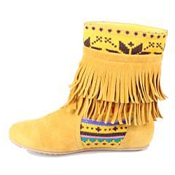 Refresh by Beston Women's 'Mini-03' Mustard Fringe Boots - Thumbnail 1