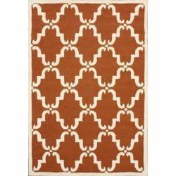 Handmade Luna Marrakesh Trellis Rust Wool Rug (8'3 x 11')