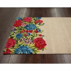 nuLOOM Handmade Floral Multi Faux Silk/ Wool Rug (5' x 8') - Thumbnail 1