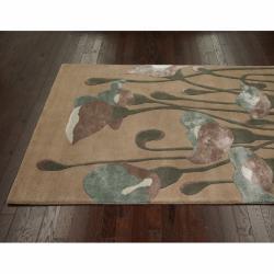 nuLOOM Handmade Floral Natural Faux Silk/ Wool Rug (7'6 x 9'6) - Thumbnail 1