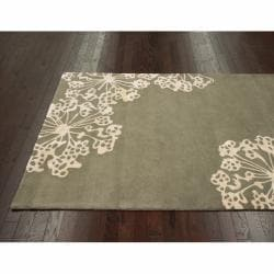 nuLOOM Handmade Floral Faux Silk/ Wool Rug (7'6 x 9'6) - Thumbnail 1