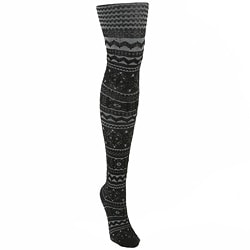 MUK LUKS Women's Patterned Black Microfiber Tights