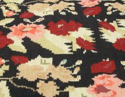 nuLOOM Handmade Flatweave Floral Mosaic Black Wool Rug (7'6 x 9'6)