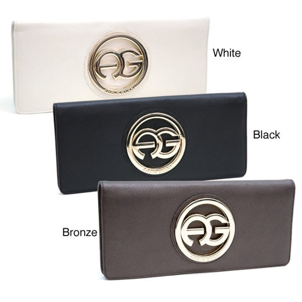 Anais Gvani Women's Italian Leather Logo Clutch Wallet