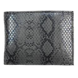 Thumbnail 1, Men's Black Python-embossed Leather Bi-fold Wallet.
