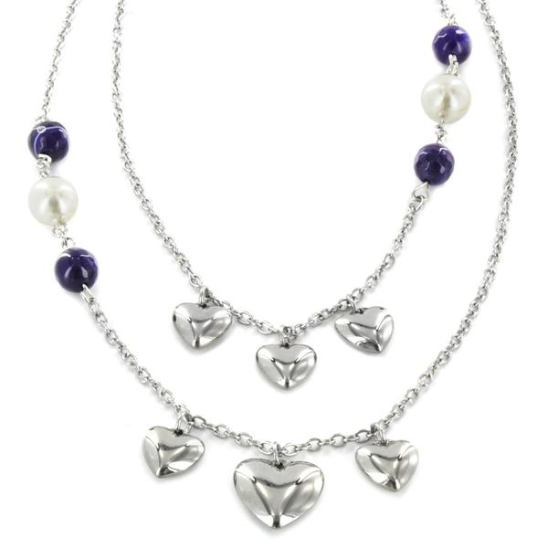 West Coast Jewelry Stainless Steel Faux Pearl and Faux Agate Heart Necklace