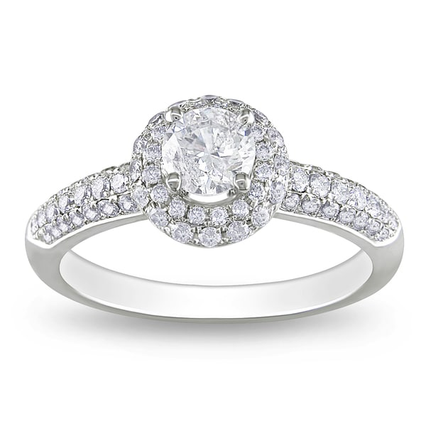 Miadora 14k White Gold 1ct TDW Diamond Halo Engagement Ring