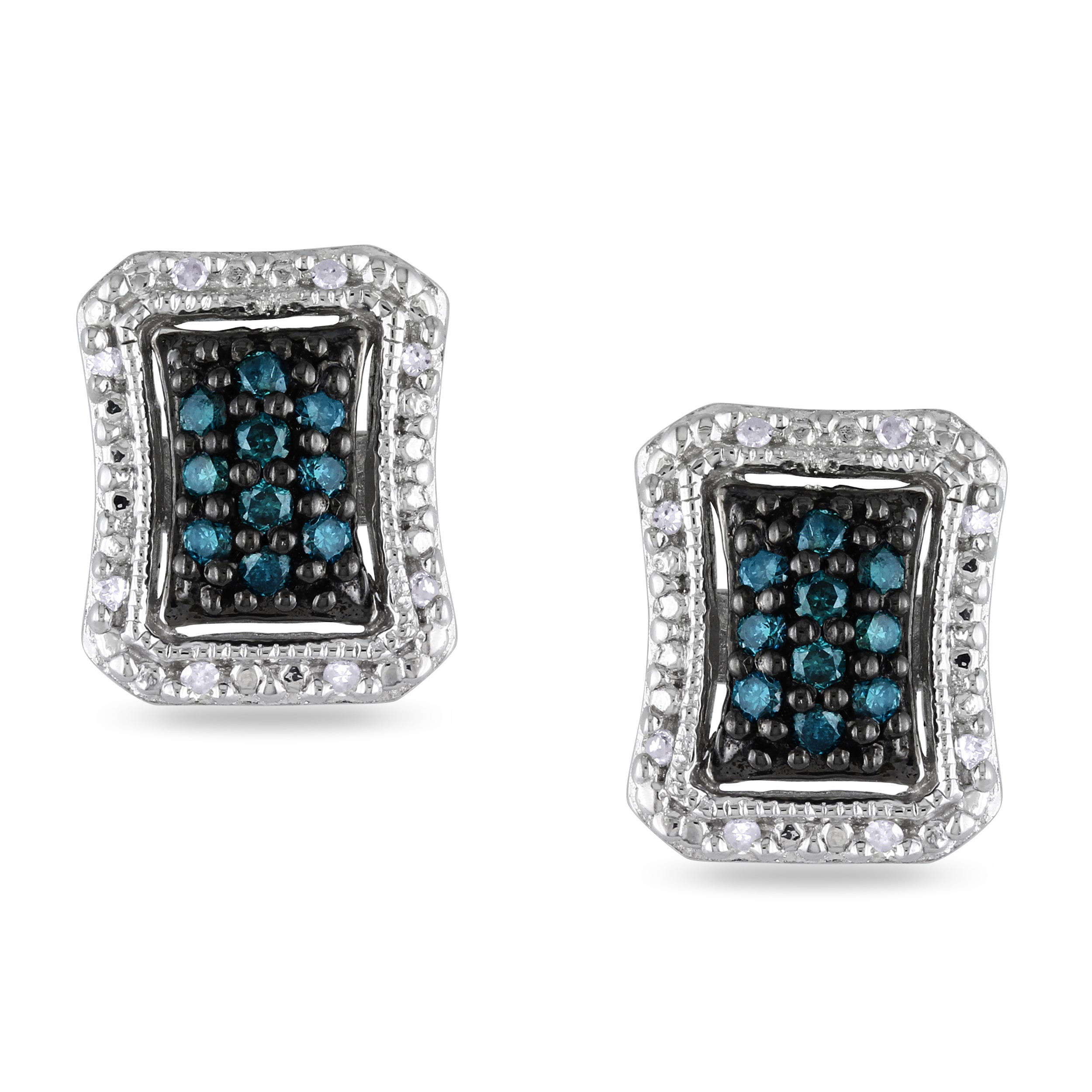 Miadora Sterling Silver 1/4ct TDW Blue and White Diamond Earrings
