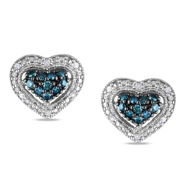 Miadora Silver 1/4ct TDW Blue and White Diamond Heart Earrings