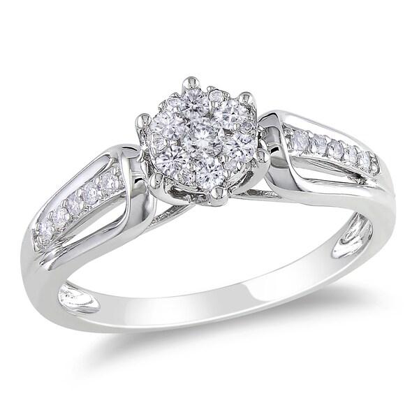 Miadora 14k White Gold 1/3ct TDW Diamond Cluster Ring