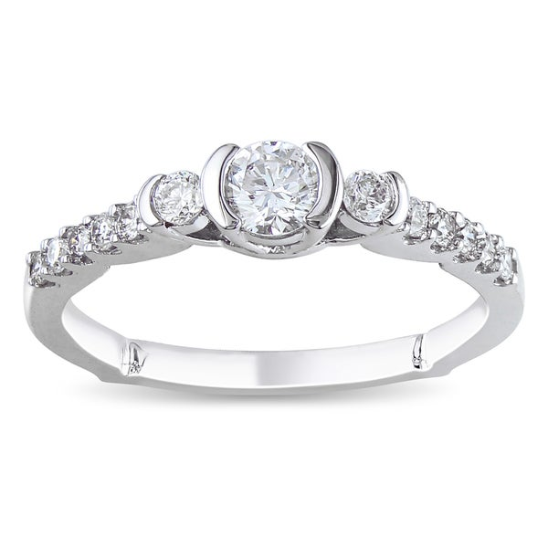 Miadora 14k White Gold 1/2ct TDW Round Diamond Ring (G-H, I1-I2)