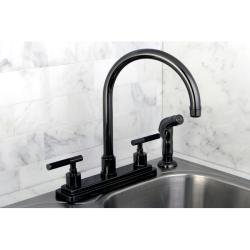 black faucet kitchen shop black nickel two handle kitchen faucet overstock 7029790 2462