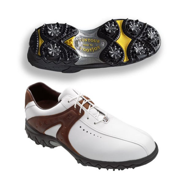 FootJoy Men's Contour White/ Brown Golf Shoes