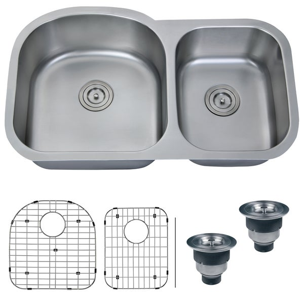 Ruvati 16 Gauge Stainless Steel 34 Inch Double Bowl Undermount Kitchen Sink