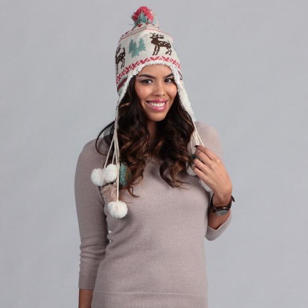 Muk Luks Women's Scandinavian Print Tassel Hat