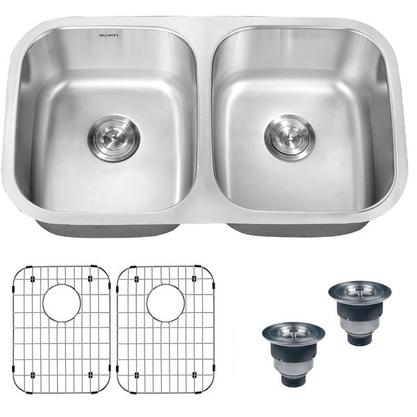 Ruvati 16 Gauge Steel Double Bowl 33 Inch Undermount Kitchen Sink
