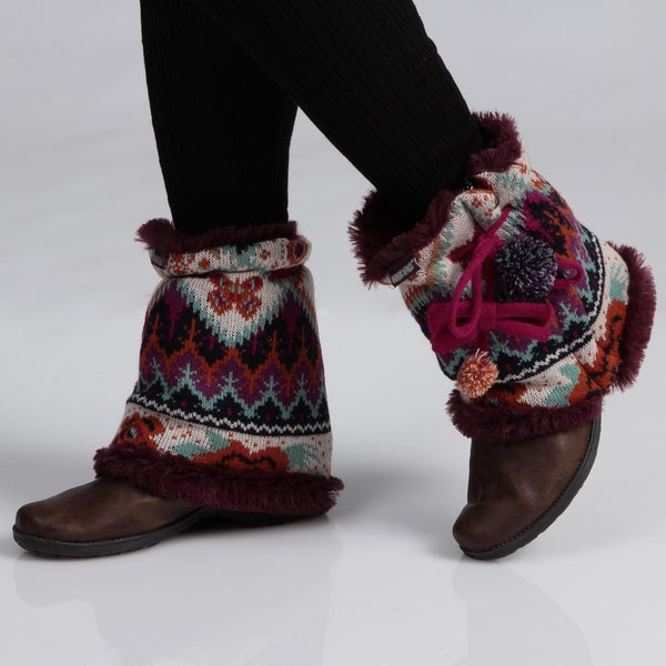 Muk Luks Women's Boho Pommy Boot Sweaters