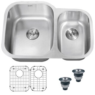Ruvati 16-Gauge Stainless-Steel Double-Bowl 32-Inch Undermount Kitchen Sink with Undercoating