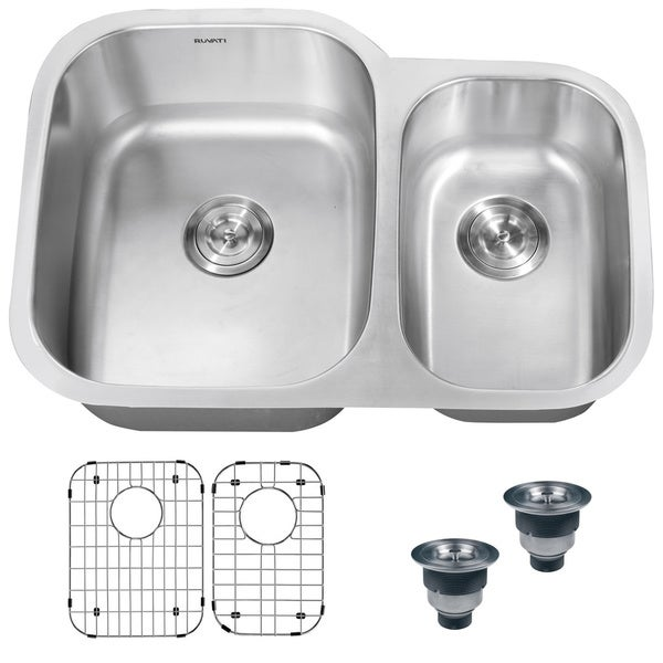 Ruvati 16-Gauge Stainless-Steel Double-Bowl 32-Inch Undermount Kitchen Sink with Undercoating
