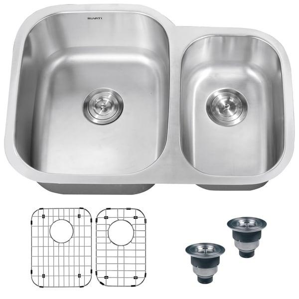 32 Inch Undermount Kitchen Sink: Shop Ruvati 32-inch Undermount 60/40 Double Bowl 16 Gauge