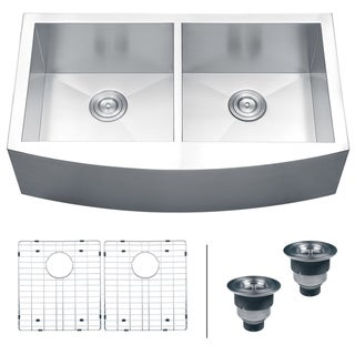 Ruvati 16-gauge Steel Double Bowl 36-inch Apron Front Kitchen Sink