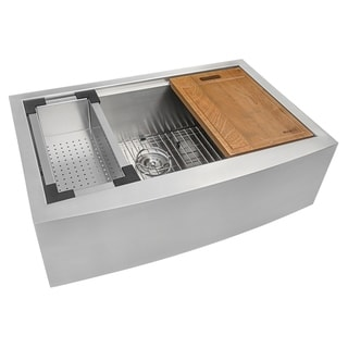 Link to Ruvati 36-inch Apron-front Workstation Farmhouse Kitchen Sink 16 Gauge Stainless Steel Single Bowl - RVH9300 Similar Items in Sinks
