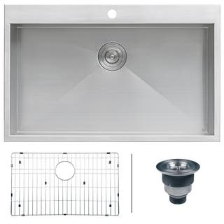 Ruvati 16-gauge Stainless Steel 33-inch Single Bowl Overmount Kitchen Sink|https://ak1.ostkcdn.com/images/products/7029917/P14534090.jpg?impolicy=medium
