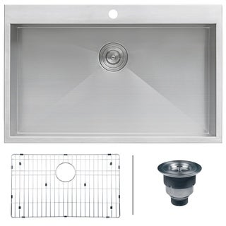 "Ruvati RVH8000 Stainless Steel 33"" x 21"" Single Bowl Drop-in Topmount 16 Gauge Zero Radius Kitchen Sink"