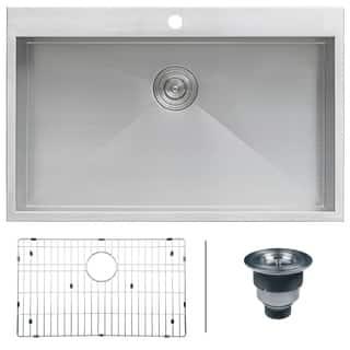 Drop in kitchen sinks for less overstock ruvati rvh8000 stainless steel 33 x 21 single bowl drop in topmount 16 workwithnaturefo