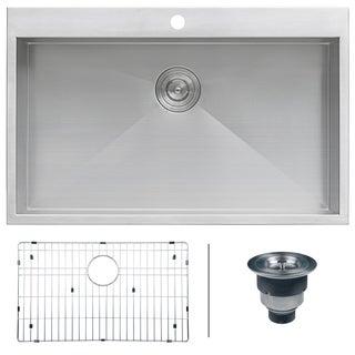 Ruvati 16 Gauge Stainless Steel 33 Inch Single Bowl Overmount Kitchen Sink