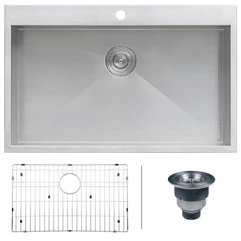 "Ruvati 33"" x 22"" Drop-in Topmount 16 Gauge Zero Radius Stainless Steel Kitchen Sink Single Bowl - RVH8000 - 33"" x 22"""