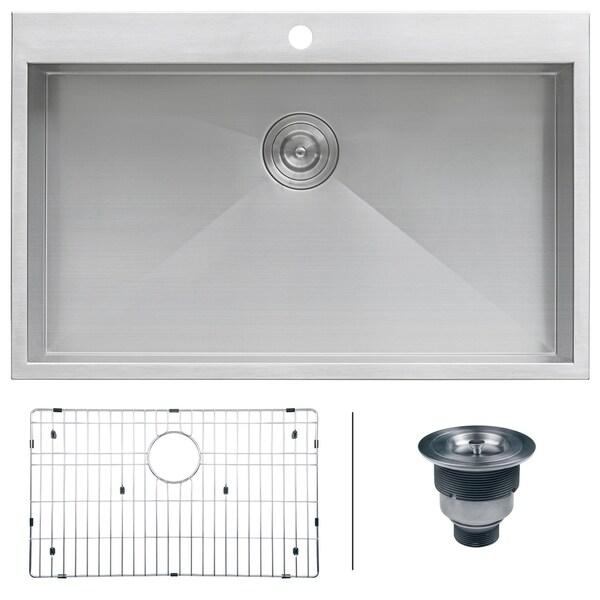 "Ruvati 33"" x 22"" Drop-in Topmount 16 Gauge Zero Radius Stainless Steel Kitchen Sink Single Bowl - RVH8000 - 33"" x 22"". Opens flyout."