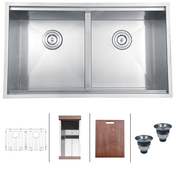 ruvati 16gauge 33inch double bowl rectangular undermount kitchen sink - Undermount Kitchen Sinks