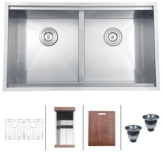Ruvati 16-Gauge Stainless-Steel 33-Inch Double Bowl Rectangular Undermount Kitchen Sink