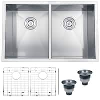 Ruvati RVH7 Satin Silver Stainless Steel 30-inch, 16-gauge Zero Radius 50/50 Double Bowl Undermount Kitchen Sink