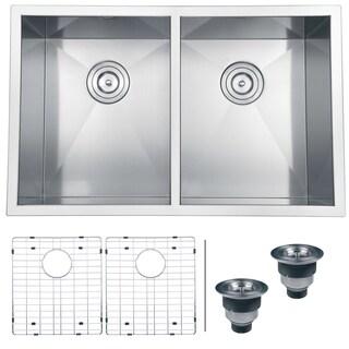 Ruvati RVH7 Satin Silver Stainless Steel 30-inch, 16-gauge Zero Radius 50/50 Double Bowl Undermount Kitchen Sink
