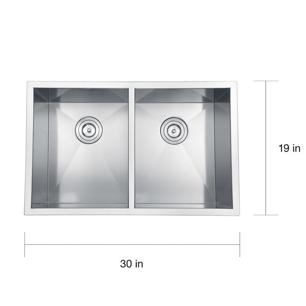 Ruvati 16 Gauge Stainless Steel 30 Inch Double Bowl Undermount Kitchen Sink    Free Shipping Today   Overstock.com   14534120