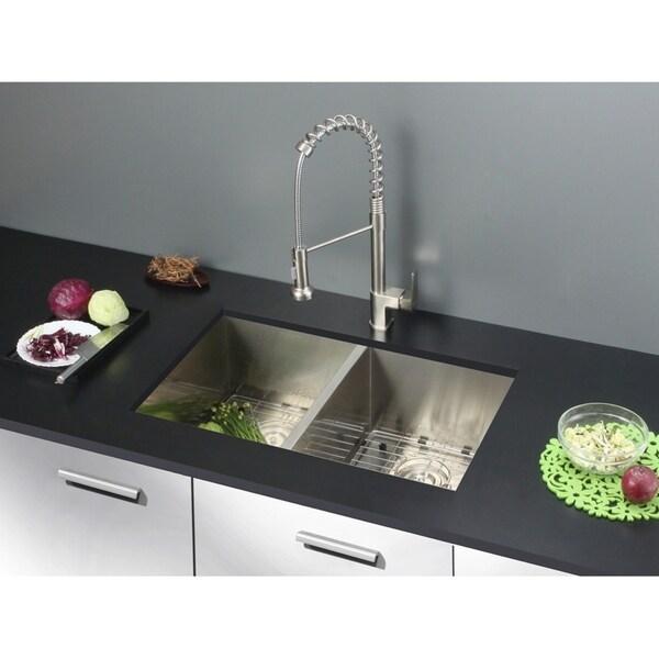 Ruvati 30 Inch Undermount 50 50 Double Bowl Zero Radius 16 Gauge Stainless Steel Kitchen Sink Rvh7350