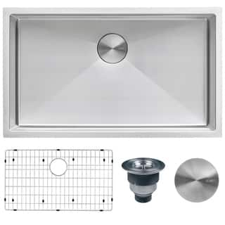Kitchen Sinks For Less Less than 18 kitchen sinks for less overstock ruvati rvh7400 silver stainless steel 32 inch 16 gauge tight radius undermount single workwithnaturefo
