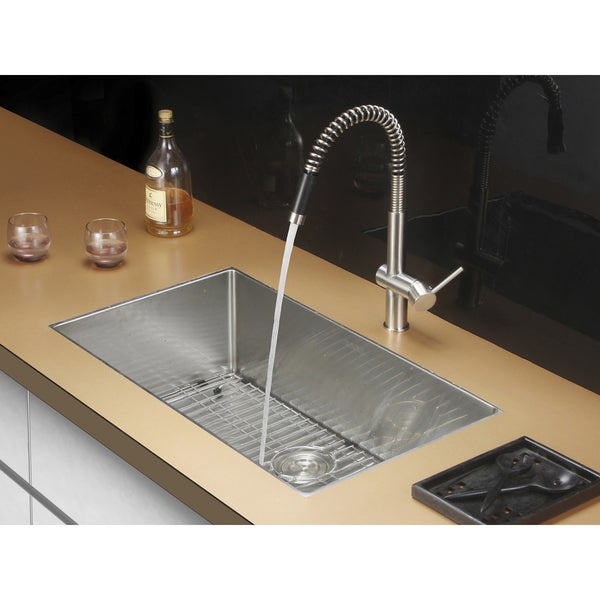 ruvati 16gauge stainless steel 32inch single bowl undermount kitchen sink - Undermount Kitchen Sinks