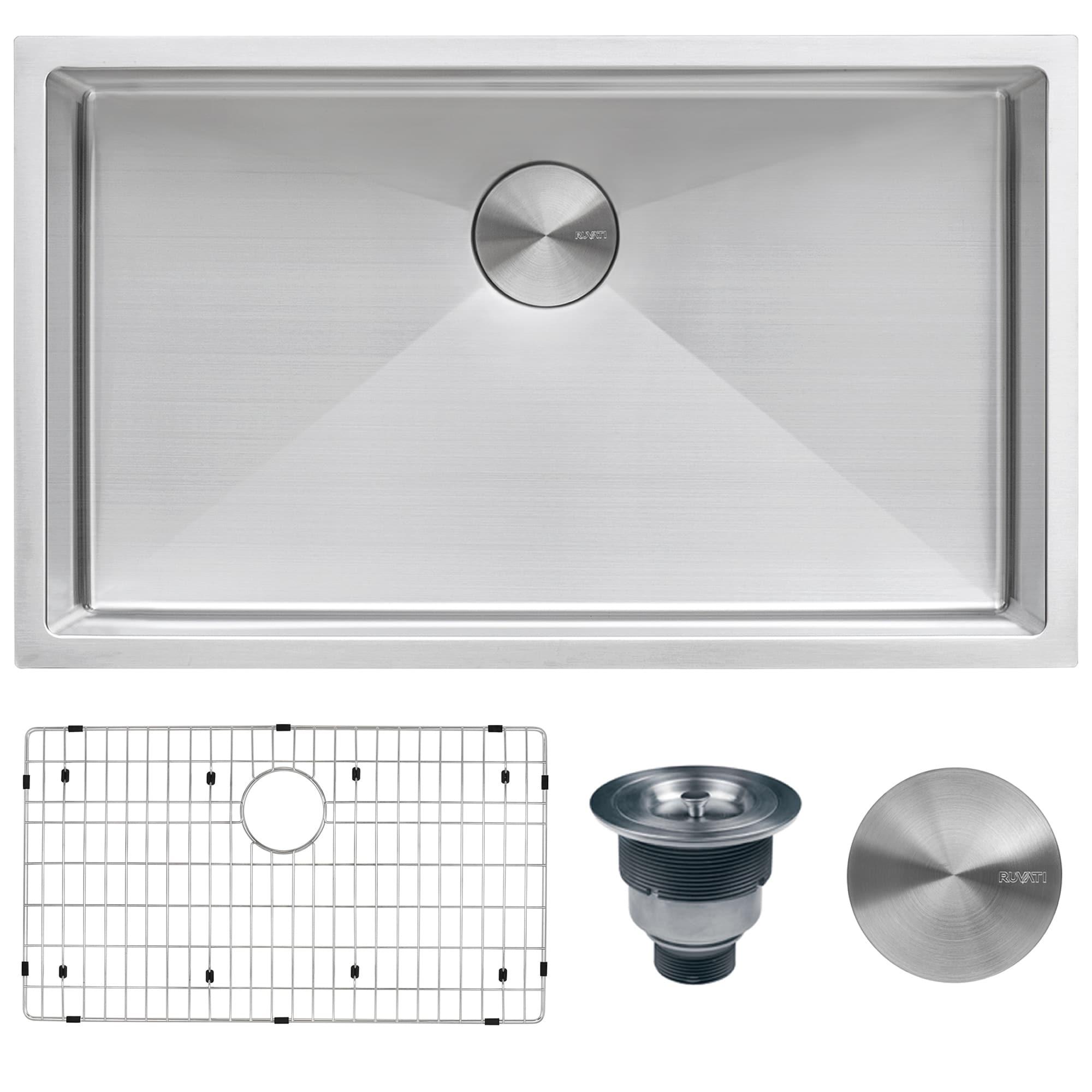 Ruvati 32-inch Undermount 16 Gauge Tight Radius Kitchen Sink Stainless  Steel Single Bowl - RVH7400