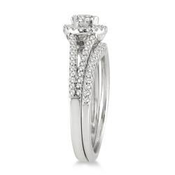 Marquee Jewels 10k White Gold 3/4ct TDW White Diamond Halo Bridal Ring Set