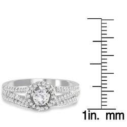 Marquee Jewels 10k White Gold 3/4ct TDW White Diamond Halo Bridal Ring Set - Thumbnail 2