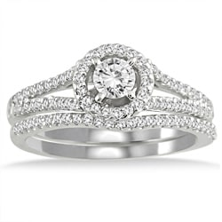 Halo Style Moissanite And Diamond Wedding Ring Set