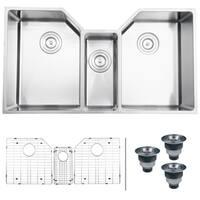 """Ruvati 35"""" Triple Bowl Undermount 16 Gauge Stainless Steel Kitchen Sink - RVH8500"""