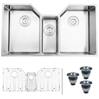 ruvati 16gauge stainless steel 34inch triple bowl undermount kitchen sink