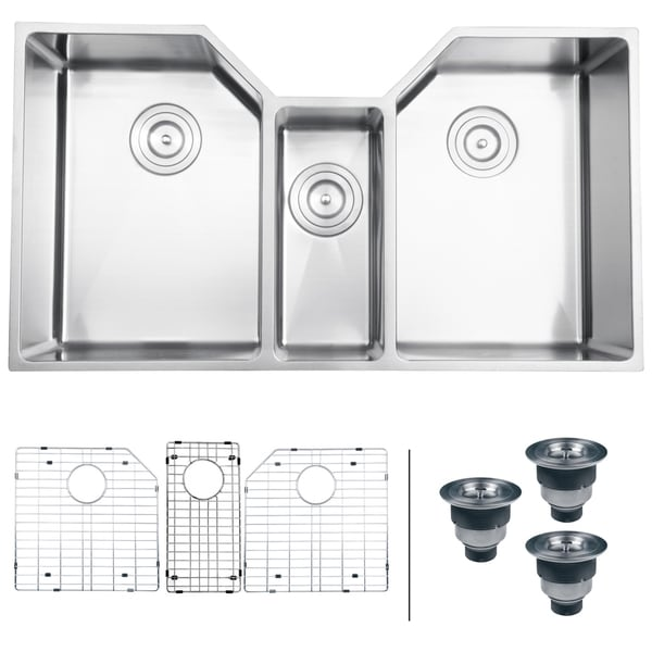 3 Bowl Kitchen Sink : ... 16-gauge Stainless Steel 34-inch Triple Bowl Undermount Kitchen Sink