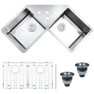 """Ruvati Corner Butterfly Undermount Kitchen Sink 16 Gauge 44"""" Double Bowl - RVH8400"""