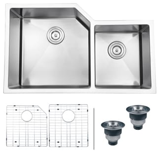 Medium image of ruvati 16 gauge stainless steel 33 inch double bowl undermount kitchen sink